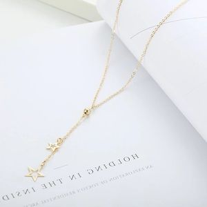 🎉 New Dangling Double Star Gold Plated Necklace